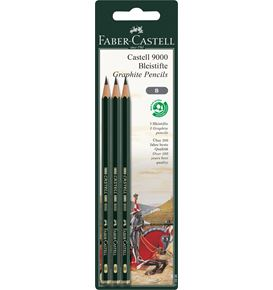 Faber-Castell - Castell 9000 graphite pencil, B, set of 3