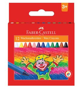 Faber-Castell - Wax crayon round, 9 cm, cardboard wallet of 12
