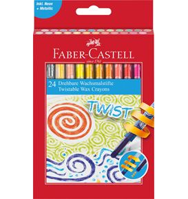 Faber-Castell - Wax crayon twistable, cardboard box of 24