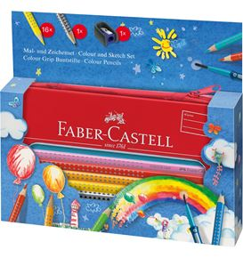 Faber-Castell - Colour Grip colouring set Balloon in a tin, 18 pieces