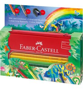 Faber-Castell - Colour Grip colouring set Jungle in a tin, 18 pieces
