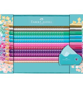 Faber-Castell - Sparkle colour pencil set, tin turquoise, 21 pieces