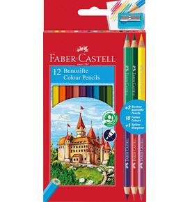 Faber-Castell - 12 Colour Ecopencils + 3 Bicolour + 1 sharpener