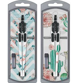 Faber-Castell - Girls 2020 compass with quick set mechanism, 2 motifs