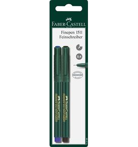 Faber-Castell - Finepen 1511 fineliner, 0.4 mm, blue/black, set of 2