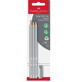 Faber-Castell - Grip 2001 graphite pencil set, HB, silver, 4 pieces