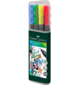 Faber-Castell - Fibre tip pen Grip Finepen 0.4 plastic case of 20