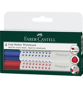 Faber-Castell - Grip Marker Whiteboard, chisel tip, wallet of 4