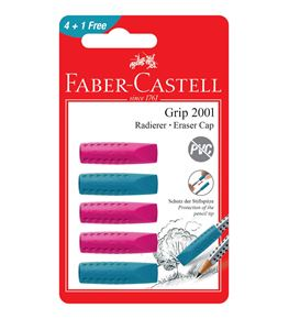 Faber-Castell - Grip 2001 eraser cap eraser, set of 5, red, blue, sorted
