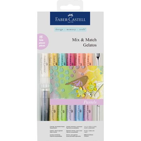 Faber-Castell - Gelatos water-soluble crayons, pastel tones, 15 pieces