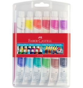 Faber-Castell - Gouache colours, colour tubes, plastic wallet of 12