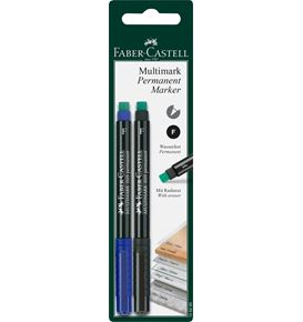 Faber-Castell - Multimark marker permanent, F, blister card of 2, blue/black