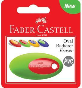 Faber-Castell - Oval eraser, set of 1, sorted colours