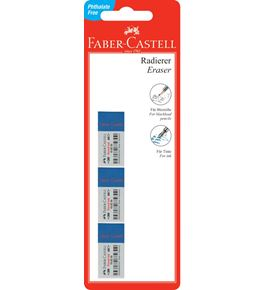 Faber-Castell - 7082-30 Combi eraser, blue-white, set of 3