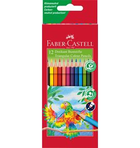 Faber-Castell - Triangular colour pencils, wallet of 12