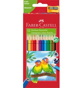 Faber-Castell - Jumbo Triangular colour pencils, wallet of 12 with sharpener