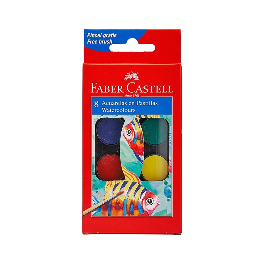 Faber-Castell - Paint box of 8 colours with brush