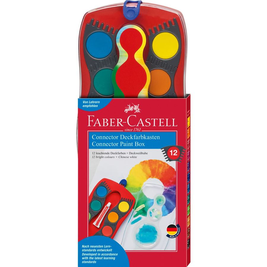 Faber-Castell - Connector paint box, red, 12 colours