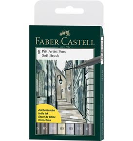 Faber-Castell - Pitt Artist Pen Soft Brush India ink pen, wallet of 8