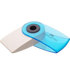 Faber-Castell - Sleeve Mini eraser, translucent, red/blue/turquoise sorted