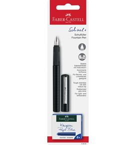 Faber-Castell - School+ fountain pen, carbon look on blister card
