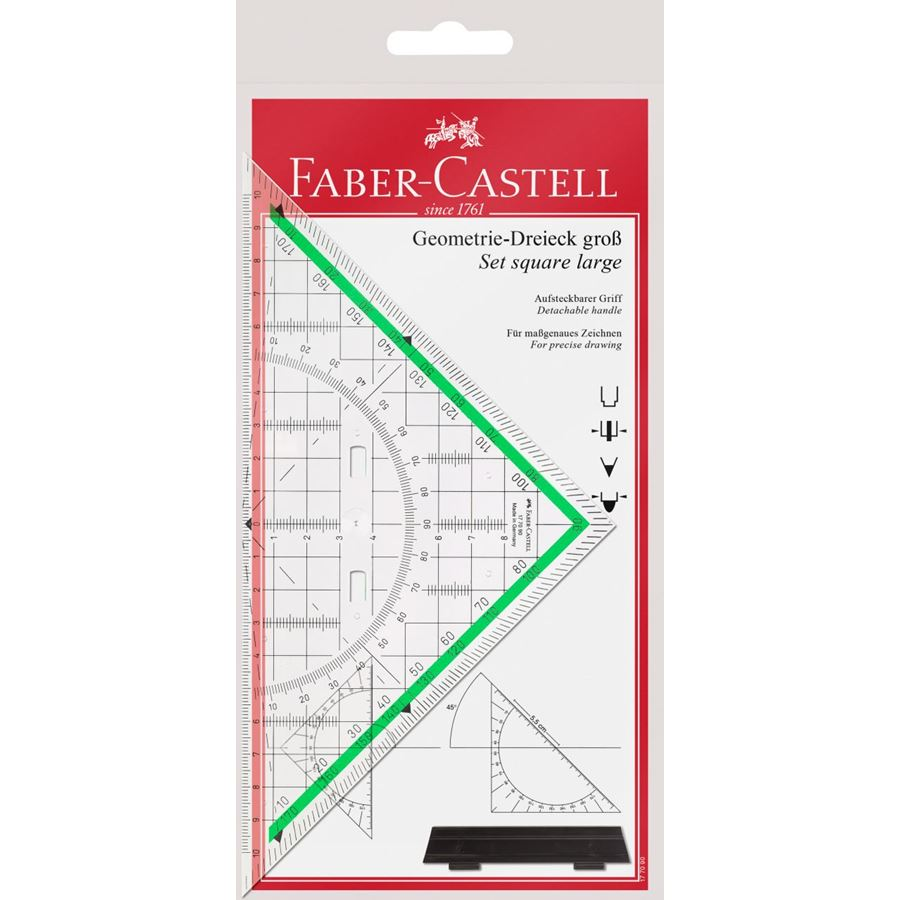 Faber-Castell - Set square, large, with handle, 20 cm